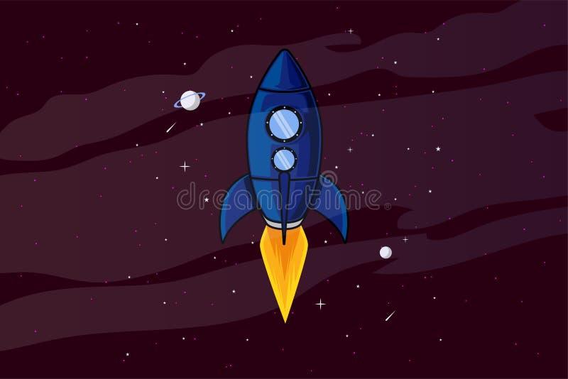 Ракета в обоях иллюстрации космоса иллюстрация вектора