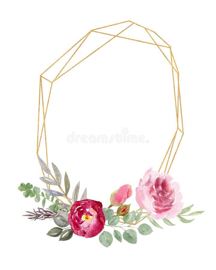 Рамка акварели золотая геометрическая украшенная с пионом флористических и роз иллюстрация вектора
