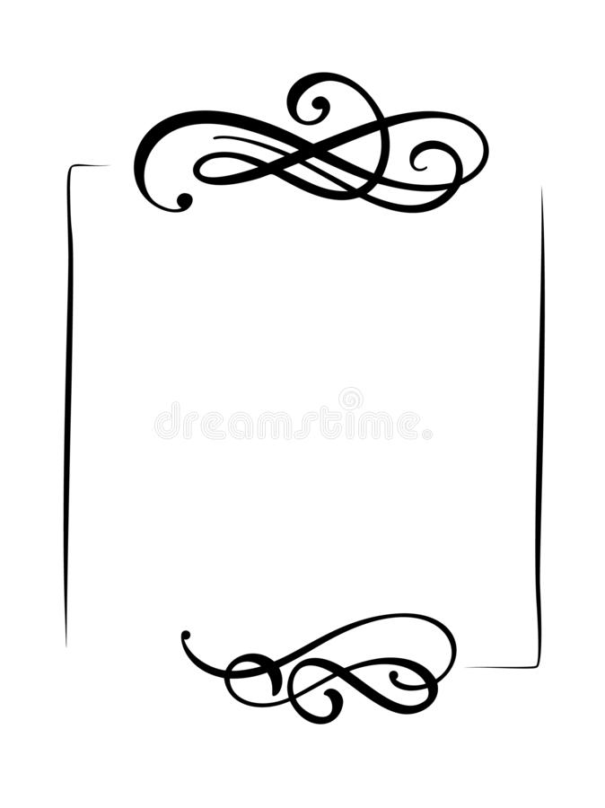 Рамка вектора декоративной руки вычерченные винтажные и знамя границ Иллюстрация дизайна для книги, поздравительной открытки, сва бесплатная иллюстрация