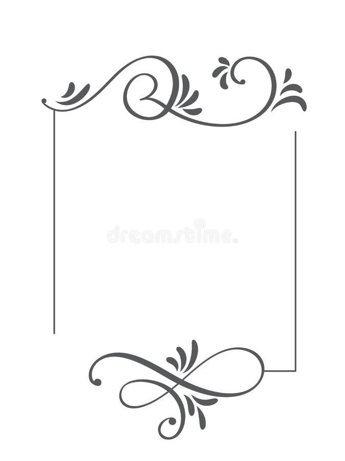 Рамка и границы вектора декоративной руки каллиграфии вычерченные винтажные Иллюстрация дизайна для книги, поздравительной открыт иллюстрация вектора