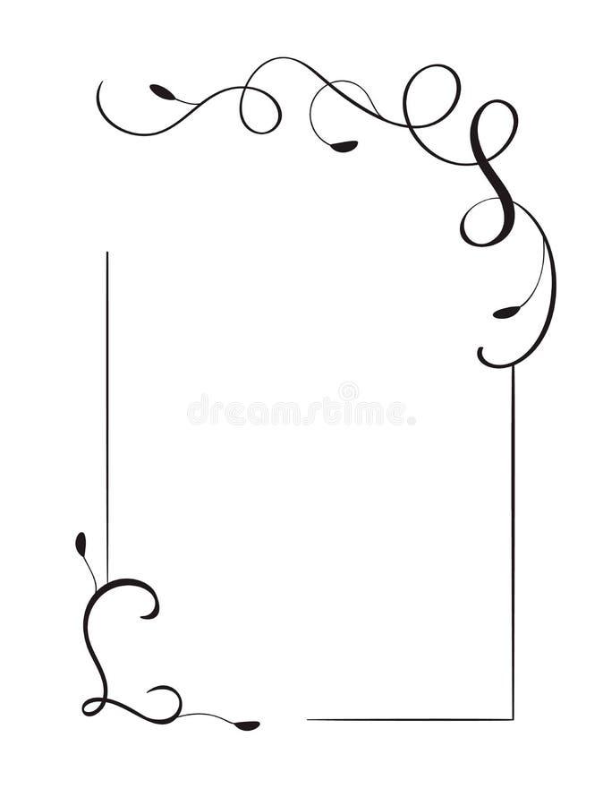 Рамка и границы вектора ретро декоративной руки вычерченные винтажные Иллюстрация дизайна для книги, поздравительной открытки, св бесплатная иллюстрация