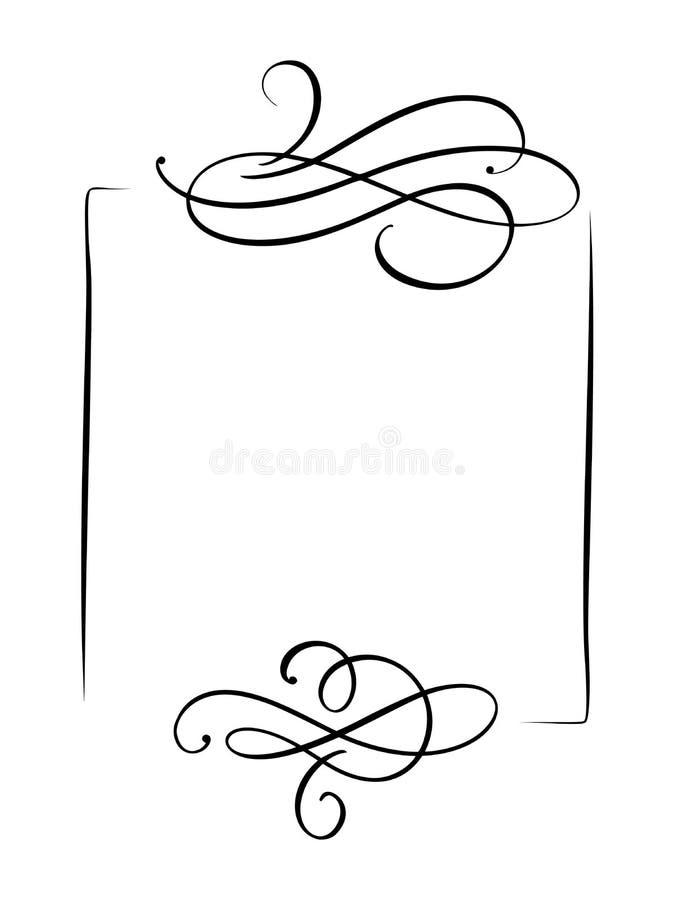 Рамка и границы винтажной руки вектора декоративной вычерченная Иллюстрация дизайна для книги, поздравительной открытки, свадьбы, иллюстрация вектора