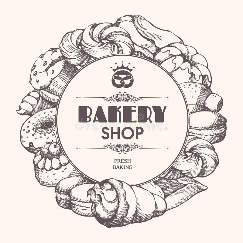 Рамка предпосылки пекарни с пекарней эскиза, печеньями, помадками, десертами, тортом, булочкой, плюшкой, macaroons Шаблон с нарис иллюстрация штока