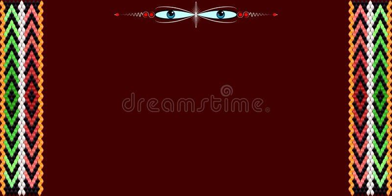 Рамка для текста с картиной на ткани Sadu бедуина иллюстрация вектора