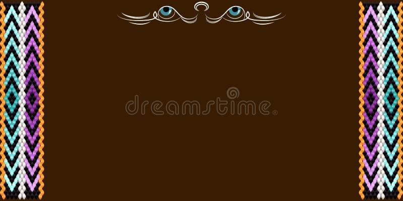 Рамка для текста с картиной на ткани Sadu бедуина иллюстрация штока
