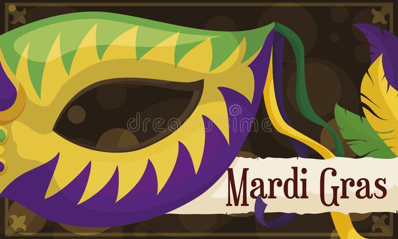 Рамка с полумаской, переченем и пер для торжества марди Гра, иллюстрации вектора бесплатная иллюстрация