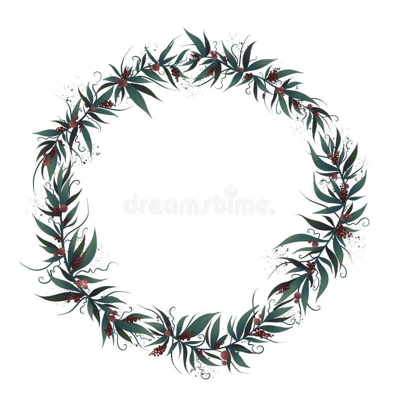 Рамка рождества с листьями и ягодой иллюстрация штока