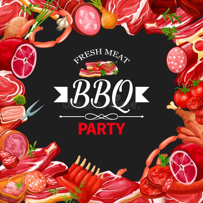 Рамка сосиски и мяса, партия bbq, мясная лавка иллюстрация вектора