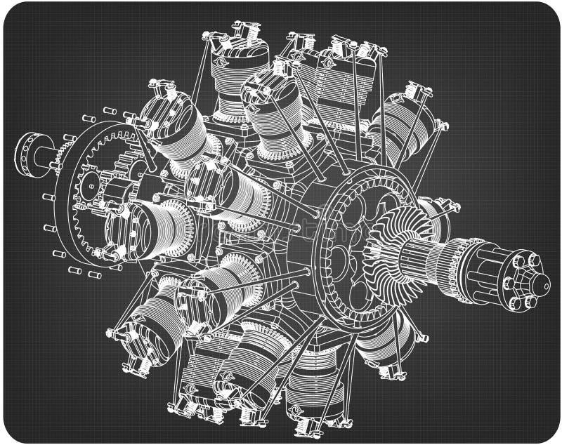 Радиальный двигатель на сером цвете бесплатная иллюстрация