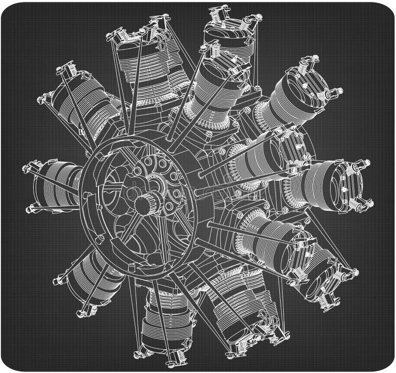 Радиальный двигатель на сером цвете иллюстрация штока