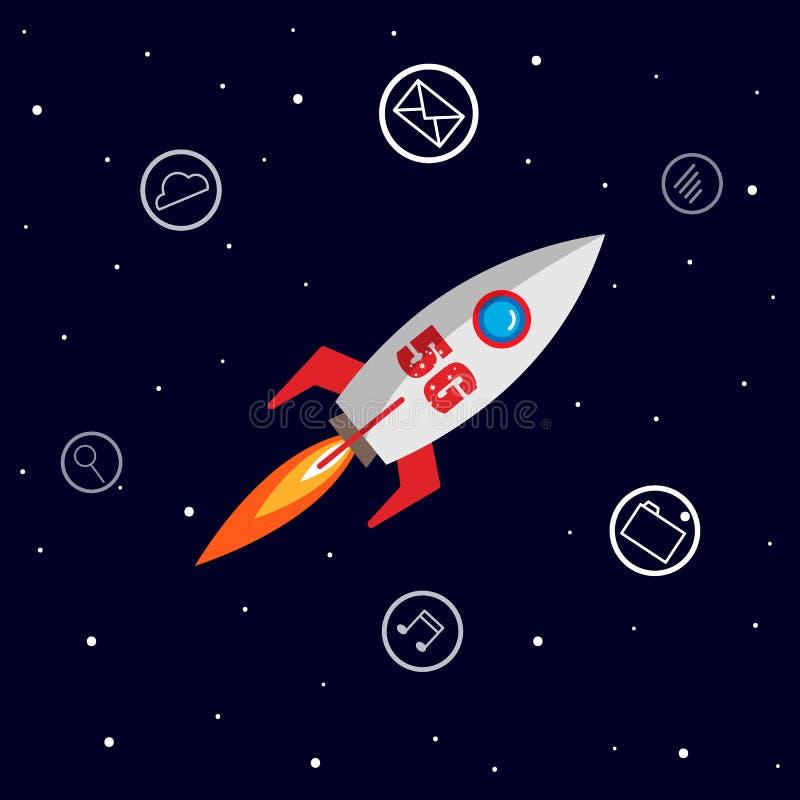 радиосвязь 5g с вектором иллюстрации значка ракеты и приложений бесплатная иллюстрация