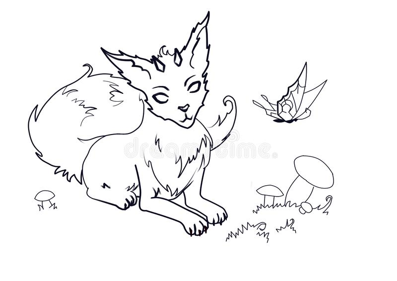 Coloring the magic Fox with horns vector illustration