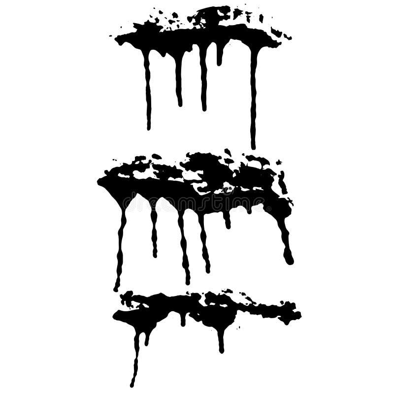 Распылите набор знамен потеков Иллюстрация вектора Grunge нарисованная рукой бесплатная иллюстрация