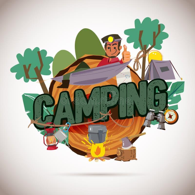 Располагаясь лагерем график логотипа турист с собранием оснащения для кемпинга - вектором иллюстрация вектора