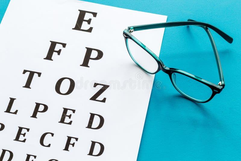 Рассмотрение глаза Диаграмма и стекла теста зрения на голубой предпосылке стоковое фото