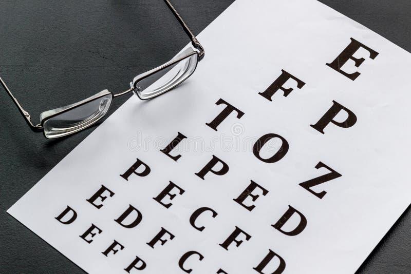 Рассмотрение глаза Диаграмма и стекла теста зрения на черной предпосылке стоковые изображения rf