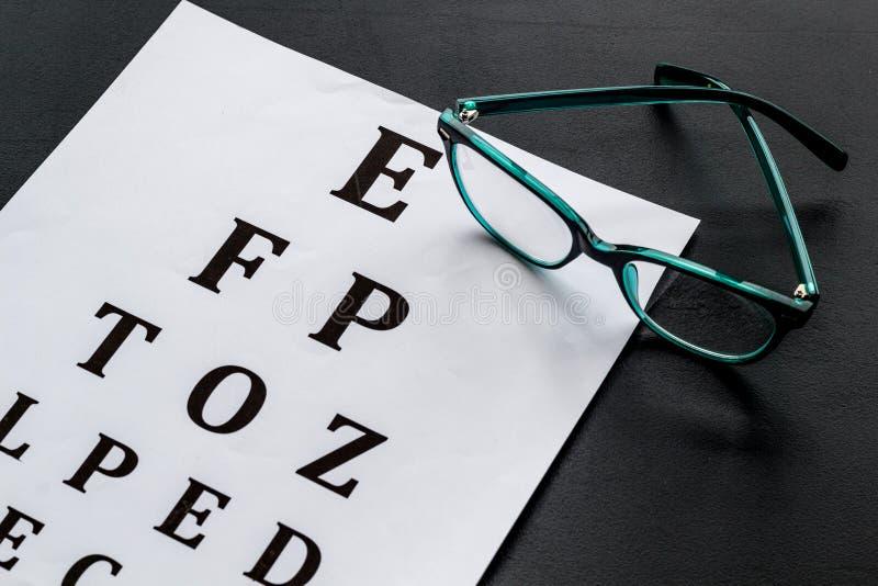 Рассмотрение глаза Диаграмма и стекла теста зрения на черной предпосылке стоковое фото