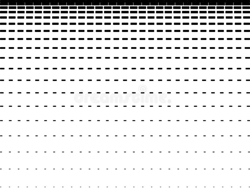 Horizontal intermittent parallel lines. Geometric black lines of varying thickness on a white background. Abstract pattern design. Gradient effect. Isolation stock illustration