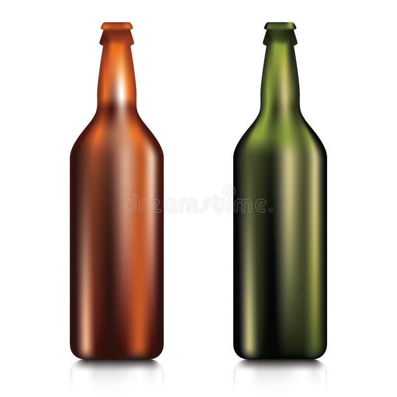 Реалистическая зеленая и коричневая пустая стеклянная пивная бутылка иллюстрация вектора