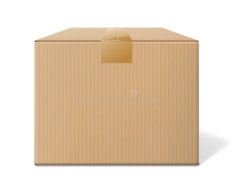 Реалистическая картонная коробка, закрытый взгляд со стороны иллюстрация вектора