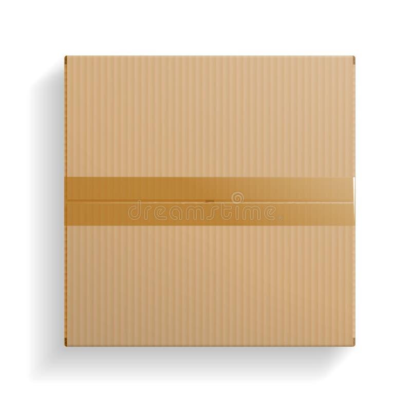 Реалистическая картонная коробка, раскрыла взгляд сверху иллюстрация вектора