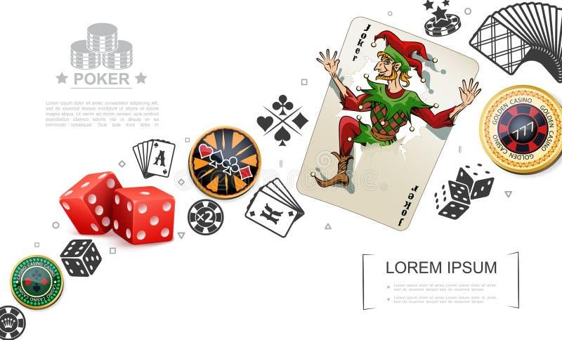 Реалистическая концепция элементов азартных игр и покера иллюстрация вектора