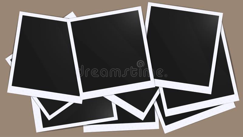 Реалистический пустой пробел черноты фото обрамляет модель-макет серии склеенный с лентой Сделайте его с иллюстрацией инструмента иллюстрация штока