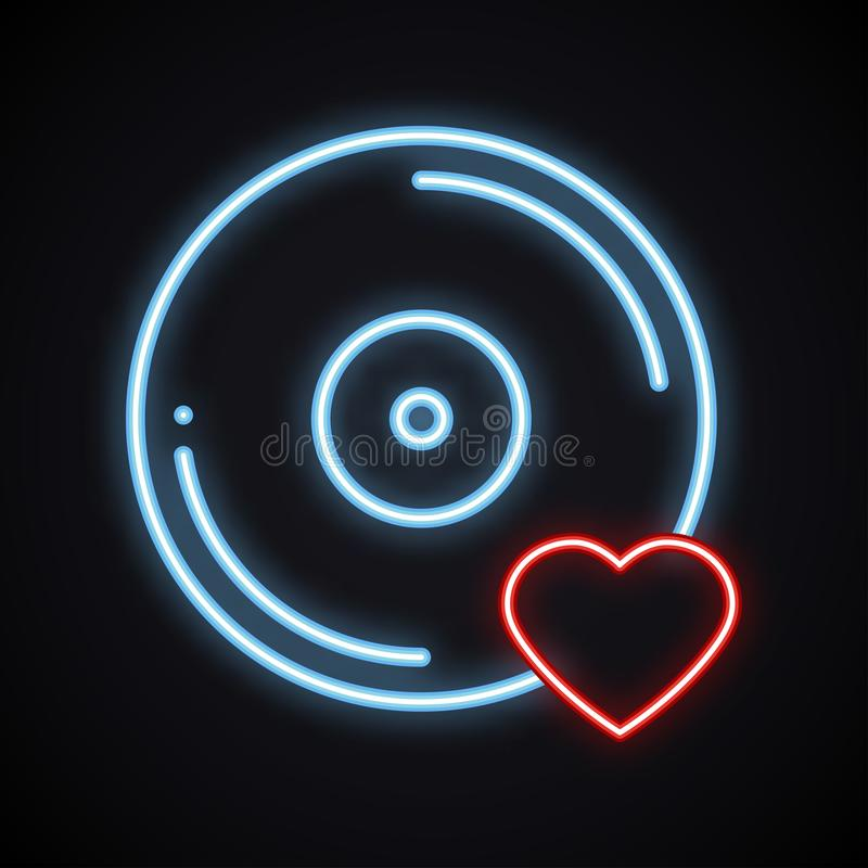 Реалистический яркий неоновый знак винила Накаляя символ музыки Любимая песня Клуб, показатель, диско, танец, ночная жизнь, DJ, п бесплатная иллюстрация