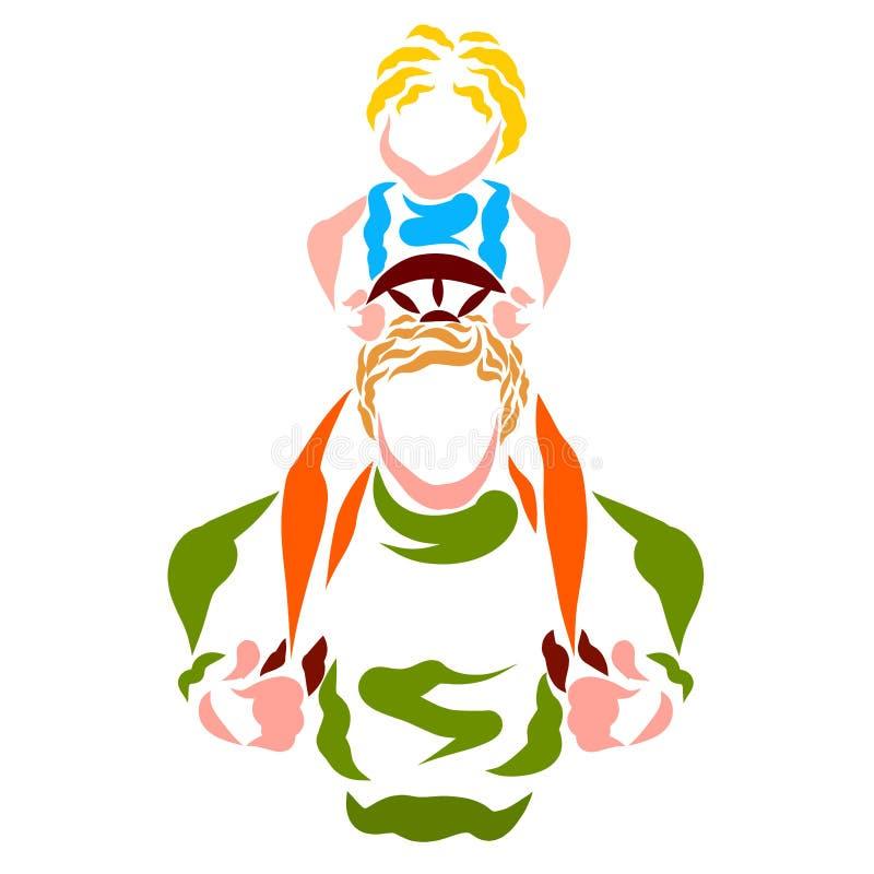 Ребенок сидит на его шеи father's и контролирует его, игру или реальность иллюстрация штока