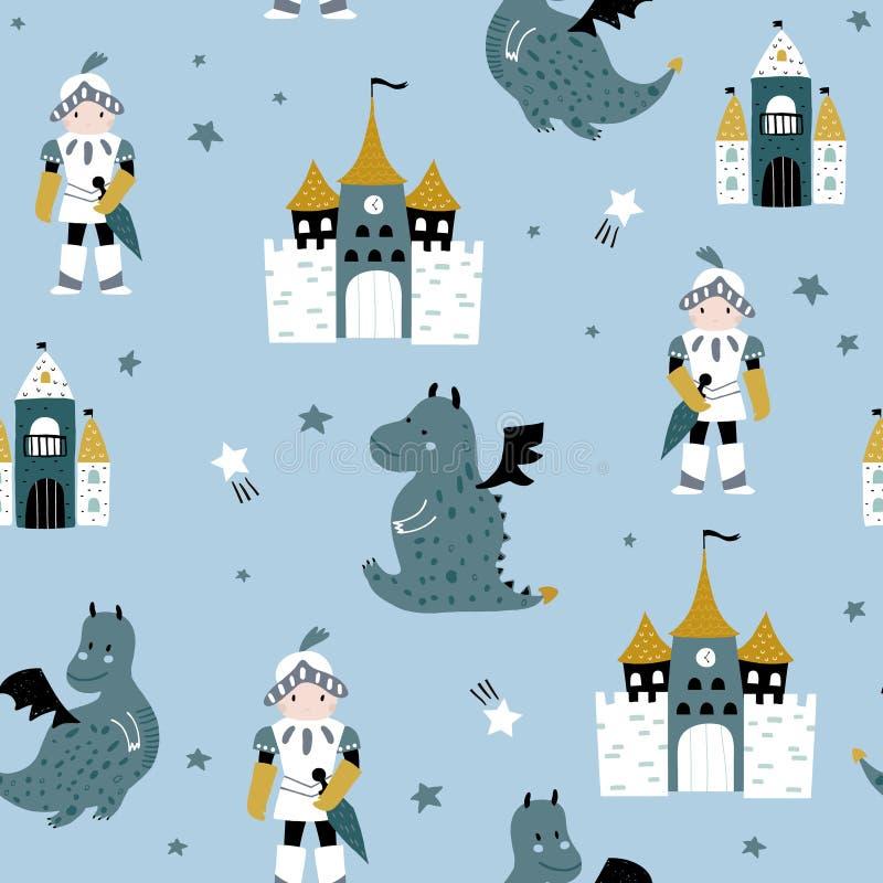 Ребяческая безшовная картина с рыцарем, драконом и замком в скандинавском стиле Творческая ребяческая предпосылка для ткани, бесплатная иллюстрация
