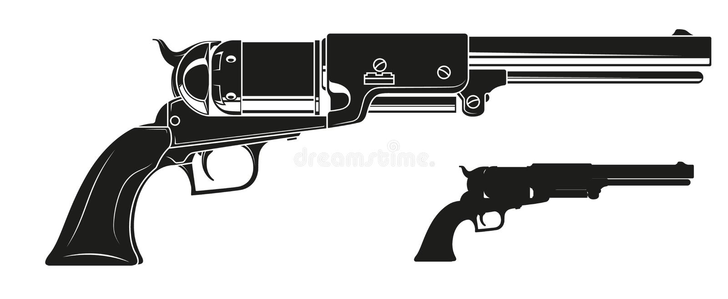 Револьвер графического детального силуэта старый иллюстрация вектора