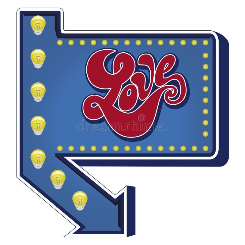 Ретро голубой шильдик с помечать буквами любов стиля стиля Арт Деко стоковые фото