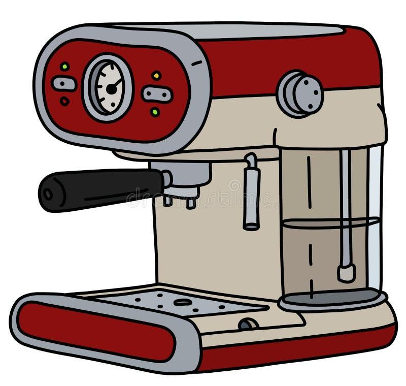 Ретро красный электрический создатель эспрессо иллюстрация вектора