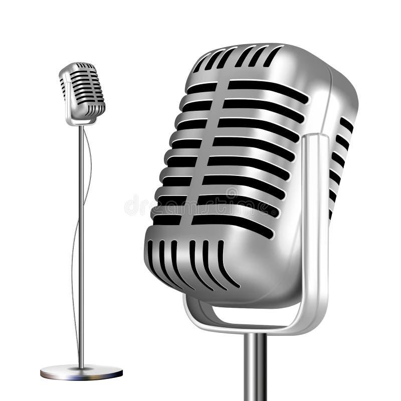 Ретро микрофон металла с вектором стойки кром Значок музыки Винтажный концерт Звуковая связь иллюстрация бесплатная иллюстрация