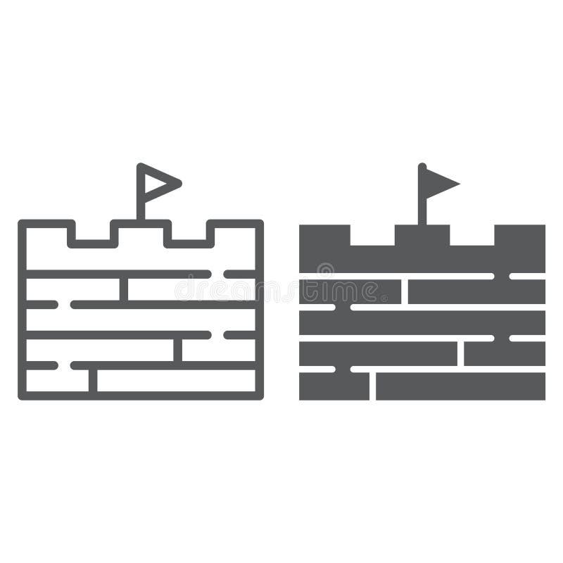 Рискует линия и значок глифа, игра и флаг, знак кирпичной стены, векторные графики, линейная картина на белой предпосылке иллюстрация вектора