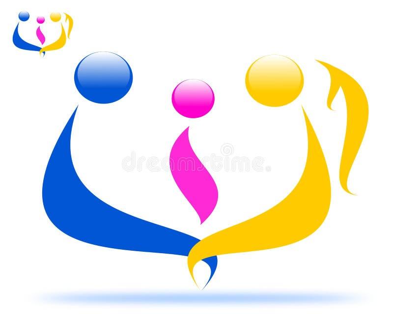 Рисуя логотип семьи, единство семьи иллюстрация штока