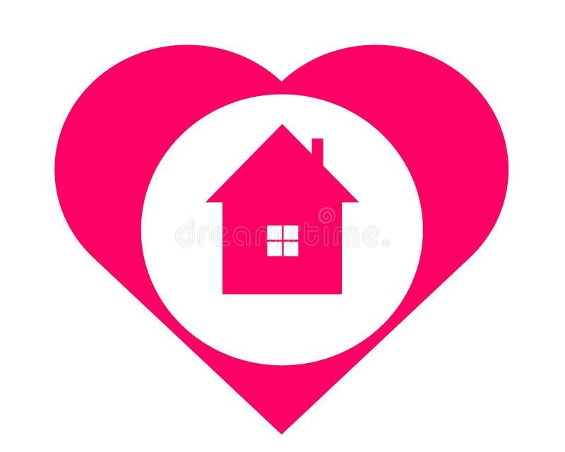 Рисуя дом логотипа в сердце иллюстрация вектора