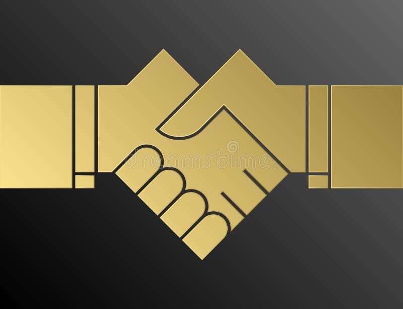 Рисовать рукопожатия - простой логотип вектора иллюстрация штока