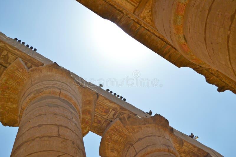 Руины виска Karnak Близкий взгляд столбцов стоковое фото