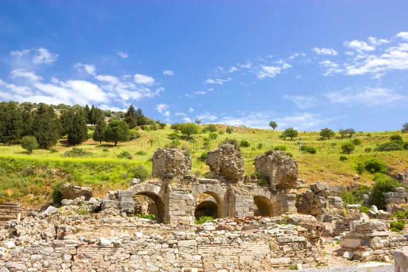 Руины древнего города Ephesus в Турции стоковые изображения rf