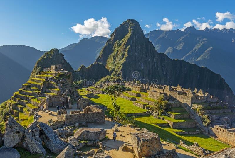 Руины Inca Machu Picchu на заходе солнца, провинции Cusco, Перу стоковое изображение rf