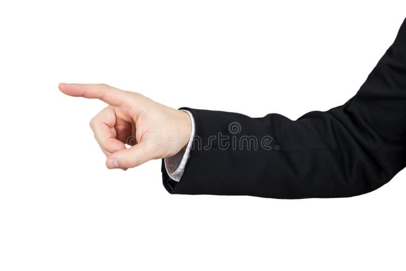 Рука бизнесмена в черном костюме указывая указательный палец белизна изолированная предпосылкой стоковое изображение rf
