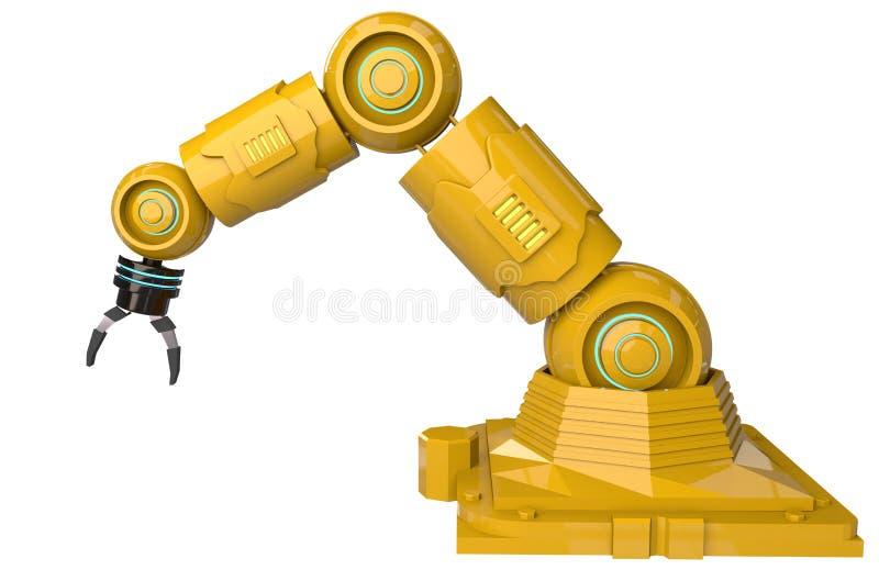 рука перевода 3d желтая робототехническая на белой конструкции предпосылки - иллюстрации бесплатная иллюстрация
