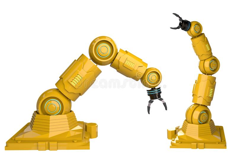 рука перевода 3d желтая робототехническая на белой конструкции предпосылки - иллюстрации иллюстрация штока