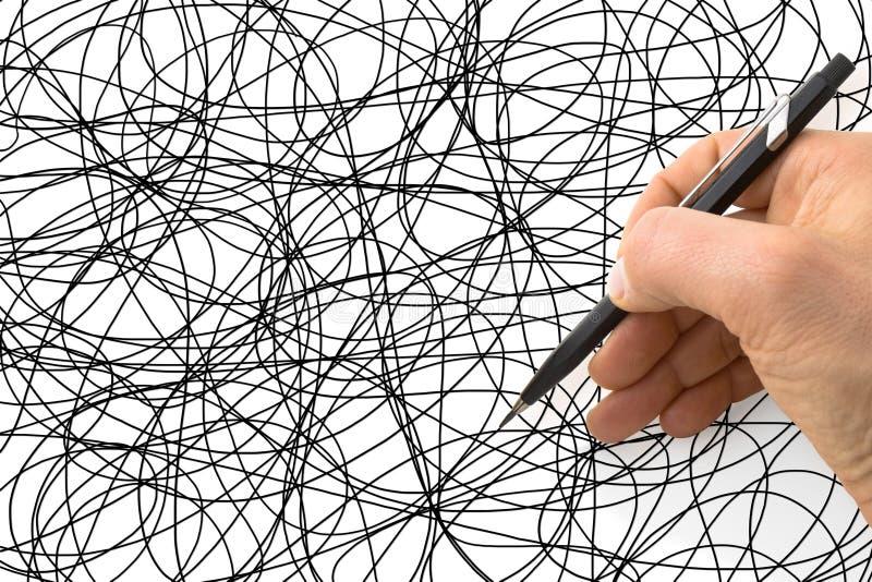 Рука писать scribble на белой бумаге - изображение концепции стоковое изображение rf