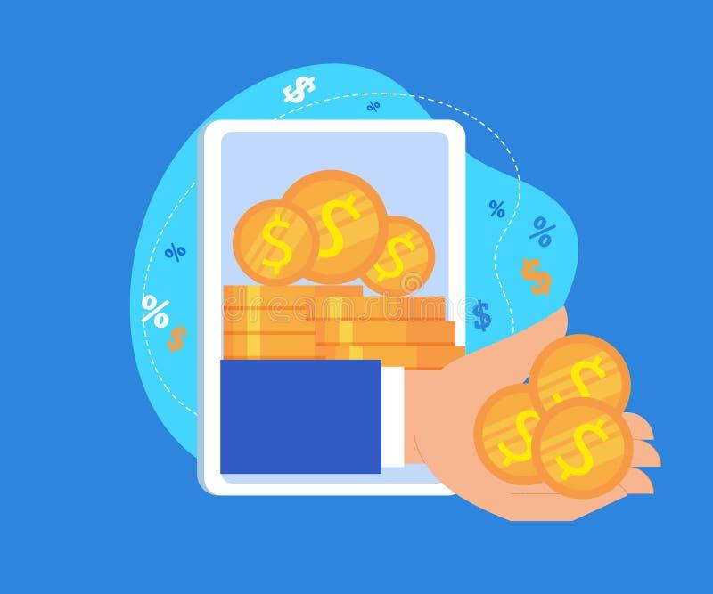 Рука дает деньги от экрана планшета Онлайн доход иллюстрация штока