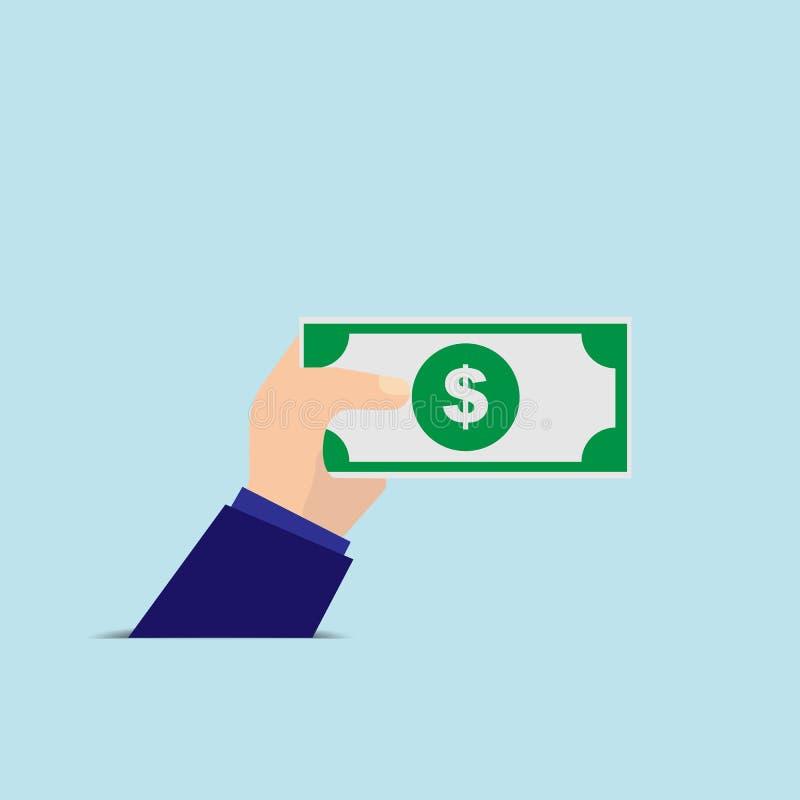 Рука держа банкноту, простое изображение иллюстрация вектора