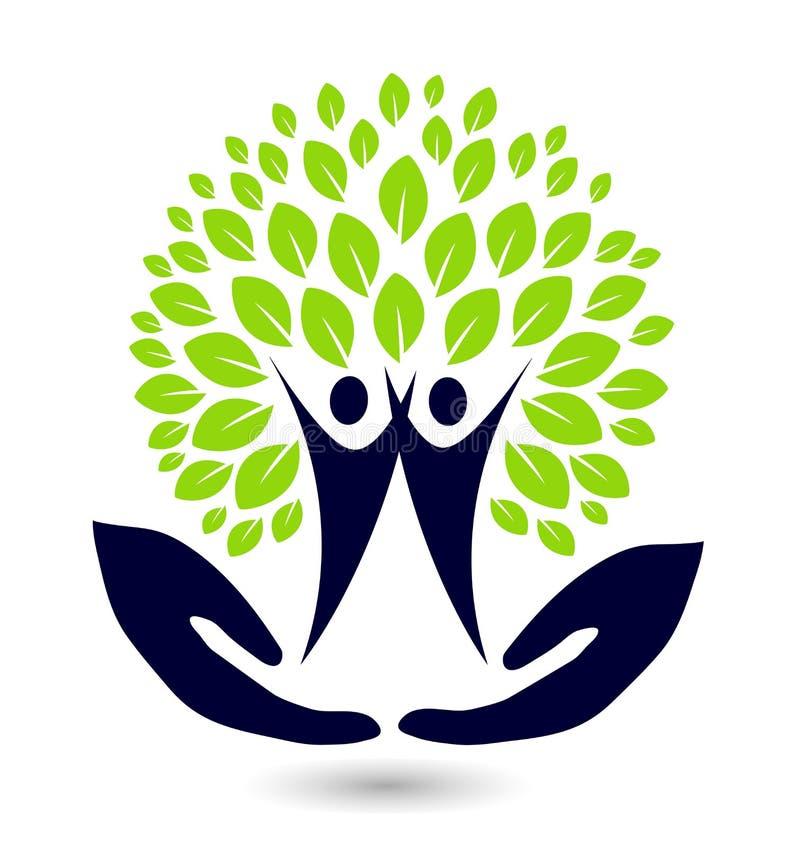 Рука с элементом значка логотипа фамильного дерев дерева на белой предпосылке иллюстрация вектора