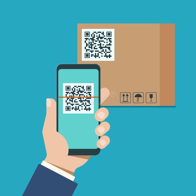 Рука с современным смартфоном просматривает код qr на картонной коробке иллюстрация штока