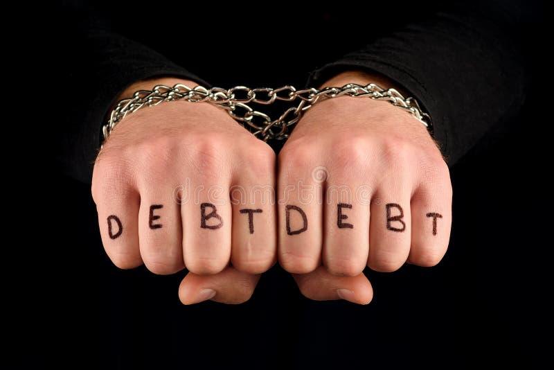Руки предела с обязанностью надписи Концепция - финансовые проблемы стоковое фото
